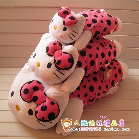 1 unids Kawaii 50 * 30 cm negro rosa vestir papa Hello Kitty muñecos de peluche de regalo navidad para los niños, de peluche de felpa de juguete al por menor