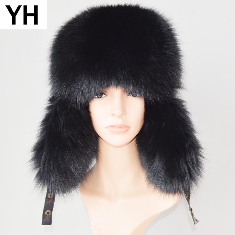 Hat Cap Ear-Protection-Caps Fox-Fur Bomber Russia Winter Women Real Warm Real-Sheepskin