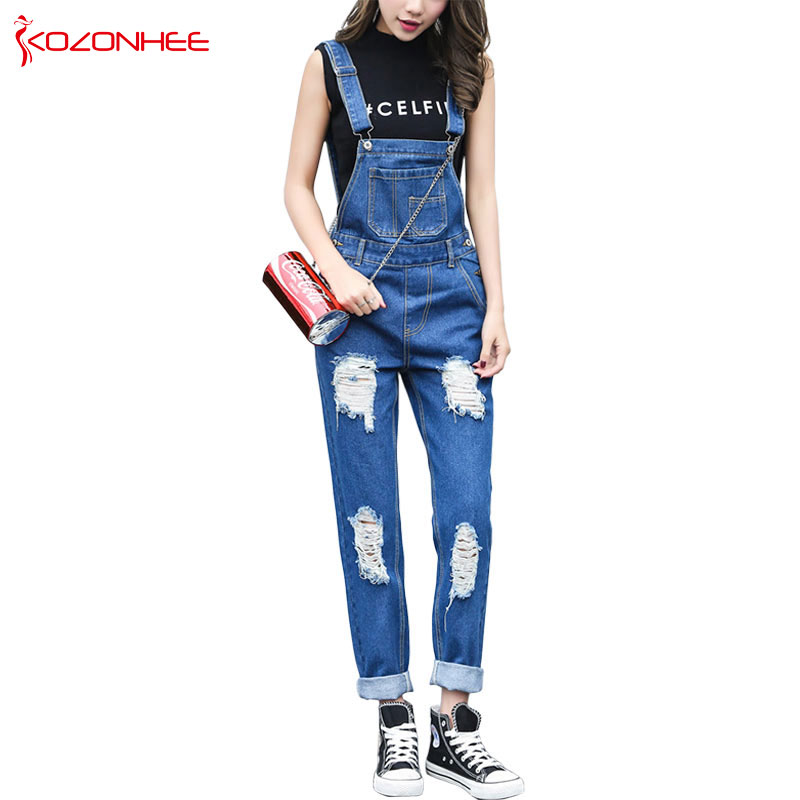 Loose Holes Ripped Overalls   Jeans   For Women Denim Rompers Womens Jumpsuit Torn Overalls For Women Jumpsuits And Rompers