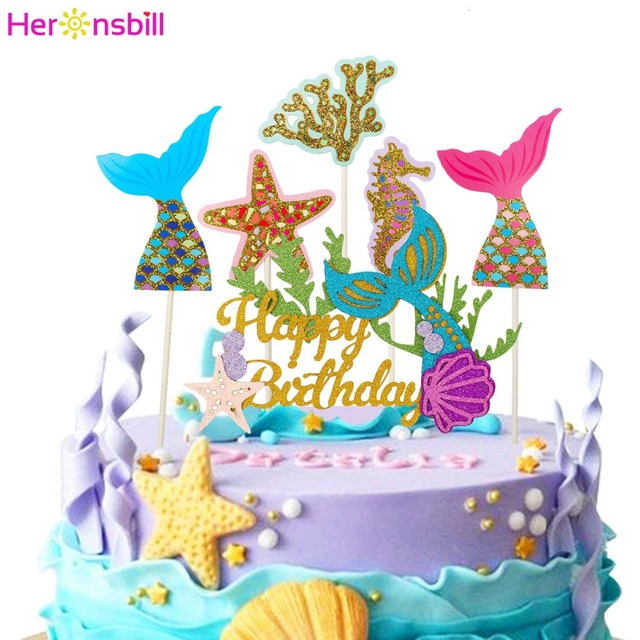 Heronsbill Happy Birthday Mermaid Paper Cupcake Topper Donut Party Decorations Girl Kids Adult Supplies Seahorse Cake