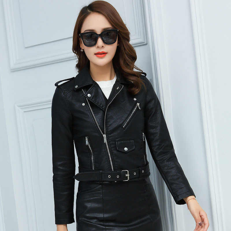 2018 New Fashion Women Autunm Winter Faux Leather Jackets Lady Bomber Motorcycle Cool Outerwear Coat with Belt
