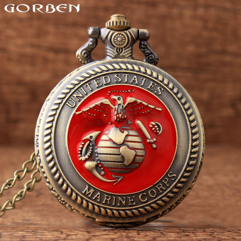 Retro Bronze United States U.S. Marine Corps Quartz Pocket Watch Necklace Pendant Clock With Chain Women Men Gift