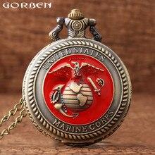 c1532186272 Bronze Retro Estados Unidos EUA Marine Corps Quartzo Relógio de Bolso Colar  Relógio Pingente Com Corrente Presente Dos Homens Da.