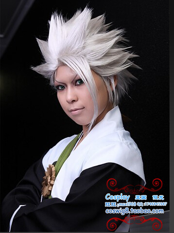 Death BLEACH Hitsugaya Toushirou white Anime Hair Cosplay Wig halloween  party