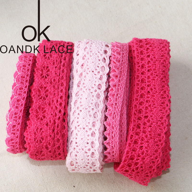 HTB17wdyObvpK1RjSZPiq6zmwXXat 5 yard25MM Cotton lace fabric for home decoration Garment accessories Home textile materials DIY manual dentelleRose and Pink