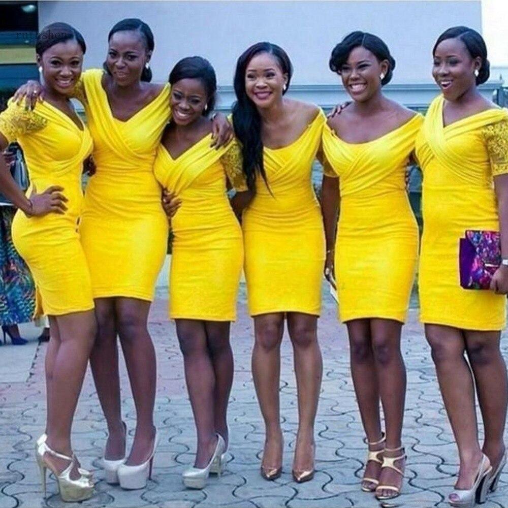 Yellow Country Bridesmaid Dresses Short Sleeve Knee Length Mermaid Bridesmaid Dress junior Wedding Guest Dress