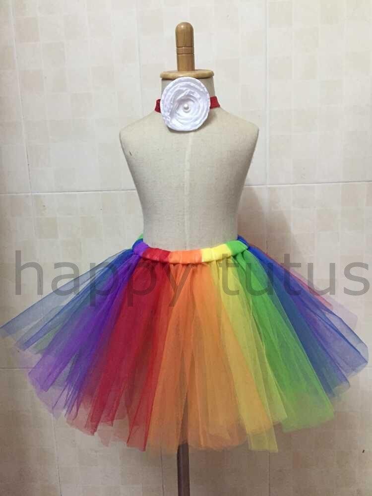 Sweetdress Girls Rainbow Tutu Skirt Dance Dress Ruffle Tiered Clubwear