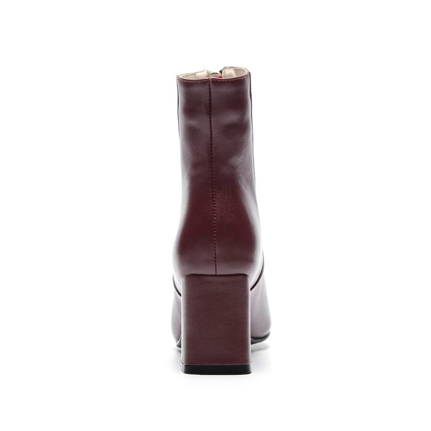 rouge Femmes Mode 40 Vache Plate 2019 noir Hiver Pu Beige Taille Des 34 Grande Moto De Bottes Cuir forme Chaussures Cheville En Qutaa FBHqz5z4
