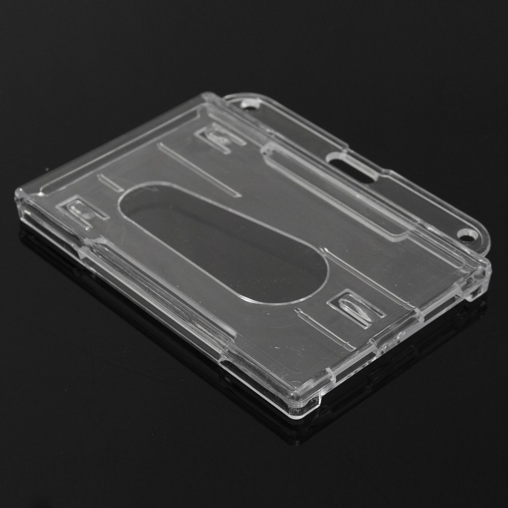 Just 3pcs Hard Plastic Double-faced Card Holder Transparent Clear Horizontal Id Badge Holders Card Cover Easy Access Thumb Notch Office & School Supplies