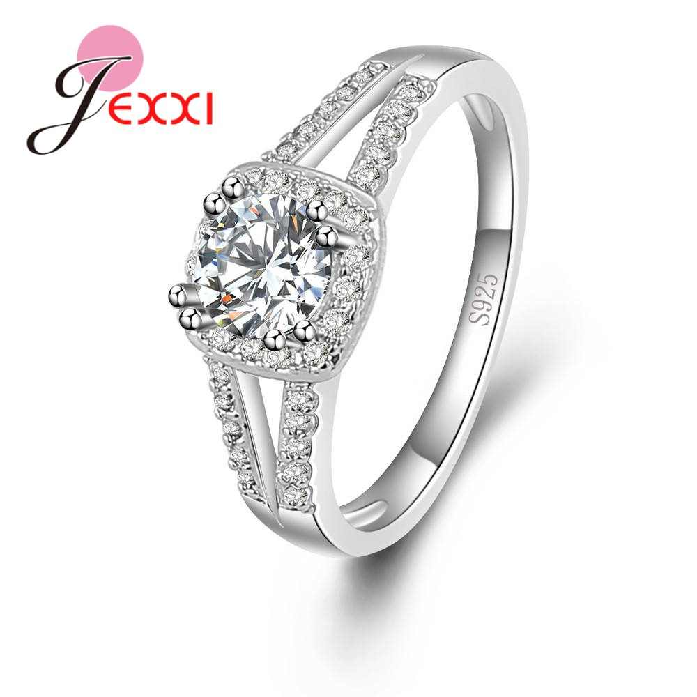 Dainty Top Quality Trendy Romântico AAA Cubic Zirconia Mulheres Anel Wending Design 925 Sterling Silver Engagement Jóias
