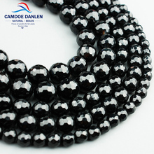 Natural Stone Faceted Black Onyx Beads Round 6 8 10 12MM Round Beads Jewelry Making Diy Bracelet Earrings Accessory parts