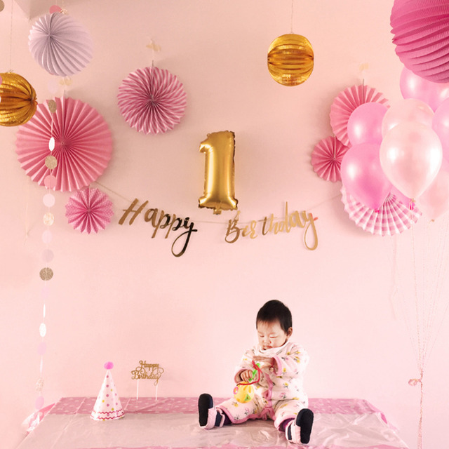 24pcs First Birthday Party Decoration Kit Pleated Laterns Circle