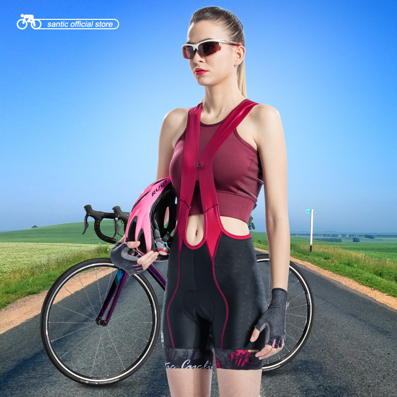 Santic Women Cycling Bib Shorts Pro 4D Padding 2 3 Hours Ladies Cycling Shorts Breathable Quick