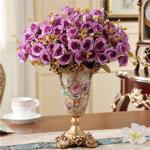 Creative European Style Retro Resin Vase Home Furnishing Decoration Living Room Dining Table Vases Flower