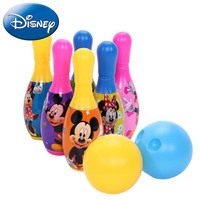 Disney Mickey Minnie Bowling Set 6Pcs Mini Ball Outdoor Family Game Children Sports Ball Kid Boy Girl Educational Party Toy Gift