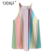 7b4fe898e39 TXJRH Sexy Colorful Vertical Striped Print Bandage Strap Halter Camisole  Tank Top