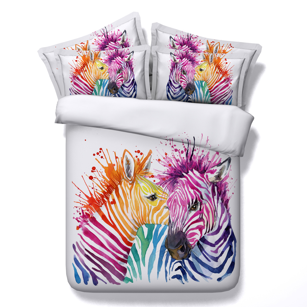 Bright Color Zebra Animal 3D Printed Comforter Bedding Twin Full Queen Super Cal King Size Bed Sheets Duvet Cover Set Adult HomeBright Color Zebra Animal 3D Printed Comforter Bedding Twin Full Queen Super Cal King Size Bed Sheets Duvet Cover Set Adult Home