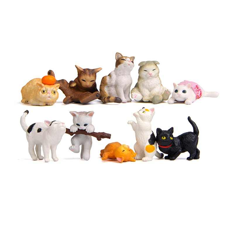 10 Pcs Japanese Cat Colorful Life Hand Korean Creative Landscaping Doll Miniature Garden Miniatures Figurine Home Decor