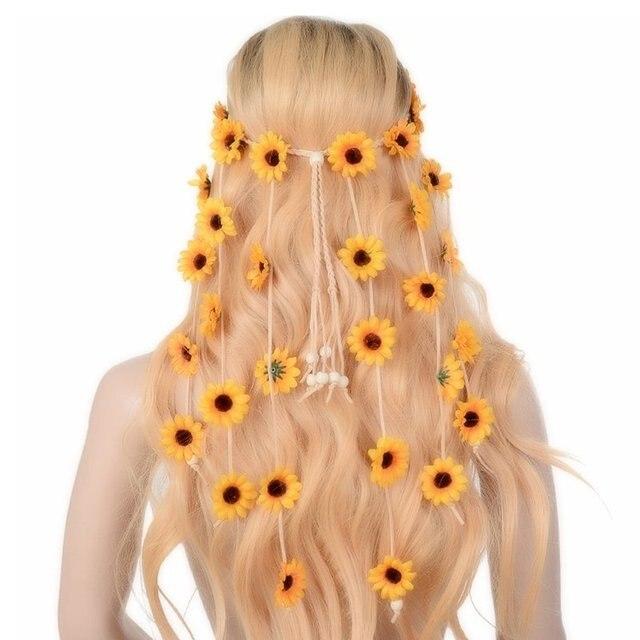 Imixlot индийский цветок головная повязка, аксессуары для волос 2018 фестиваль женщин Хиппи Регулируемый головной убор Бохо Подсолнух лента для волос