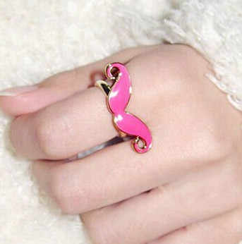 only green color have  stock Women's Fashion New Designer Jewelery Classic Candy Color Adjustable Mustache Ring 4RD03