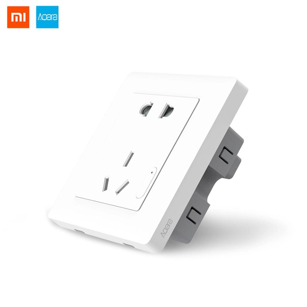 Original Xiaomi Aqara Smart Wall Socket Wall Outlet ZigBee Version Wifi Remote Control Work for Xiaomi Smart home kits цены