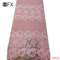 HFX african lace fabric 2019 high quality lace with White African Cord Lace Fabrics Nigerian guipure Lace Fabrics For Wedding
