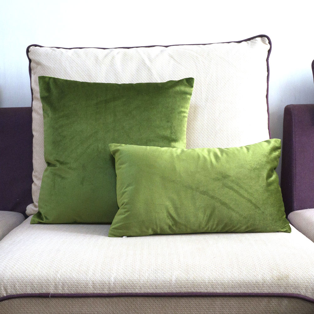 Grass Green Velvet Cushion Cover Pillow Case Lovely Soft Pillow Cover No Balling-up Without Stuffing