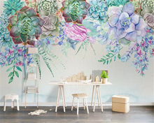 beibehang Custom classic silky wall paper Nordic simple 3D succulent flower style stereo background papel de parede 3d wallpaper