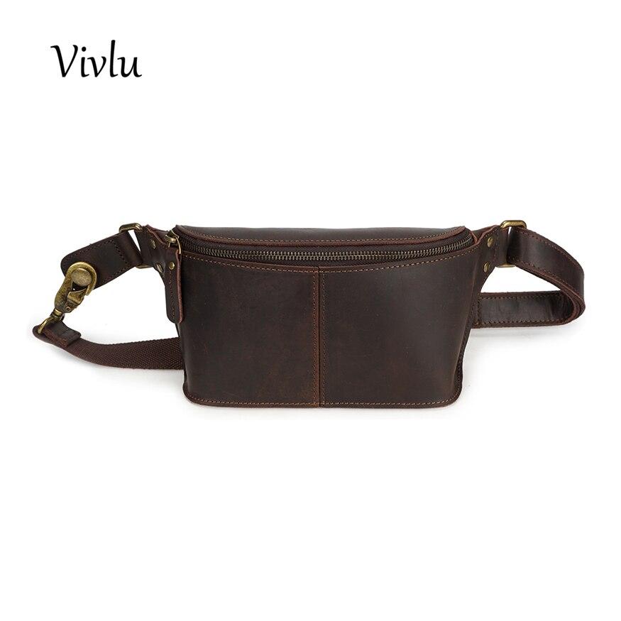 Для мужчин из натуральной кожи поясная сумка Деньги кошелек Crossbody груди многофункциональный мужской поясной ремень сумки
