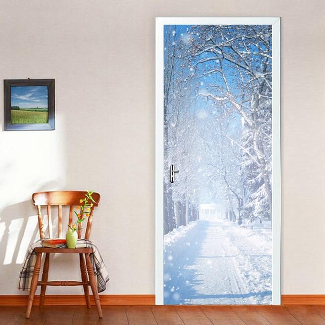Hiver neige 3d porte stickers muraux bricolage mural for Decoration porte hiver