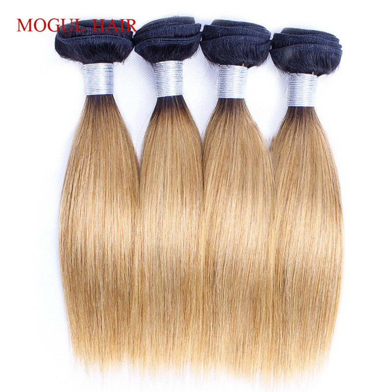 MOGUL HAIR 4 Bundles 50g/pc 1B 27 Ombre Honey Blonde Brazilian Straight Remy Human Hair 613 Brown Natual Color Short Bob Style(China)