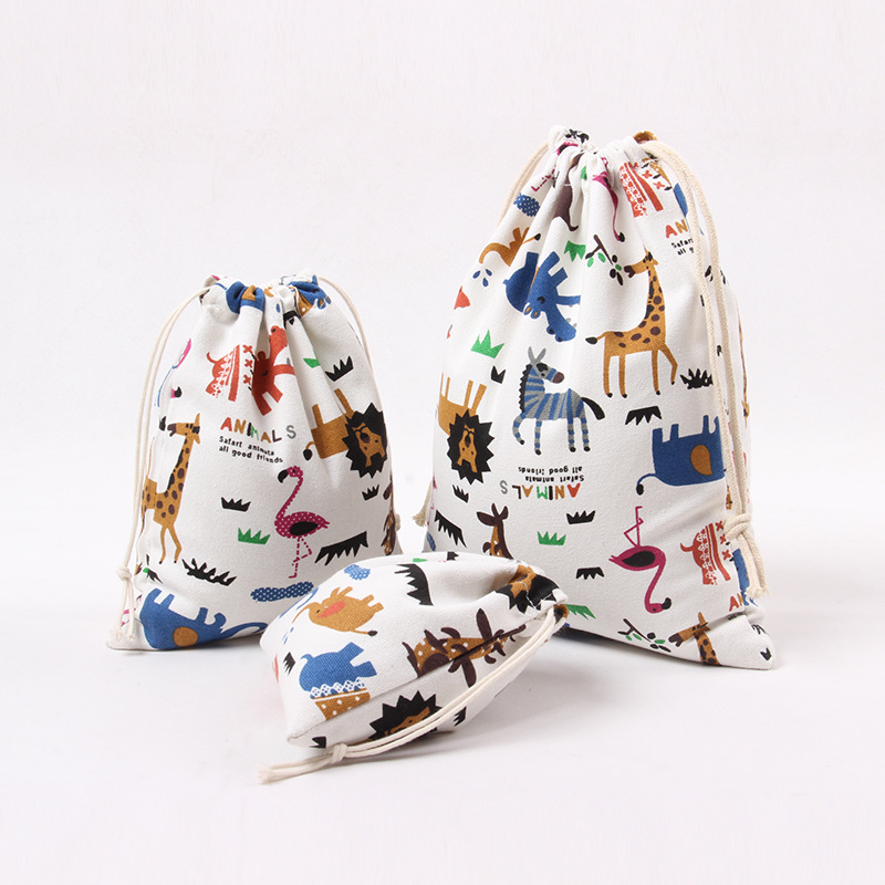 Cute Printed Drawstring Bag Zoo Animals Canvas Bag Pouch Women Travel Home Storage Tea Gift Candy