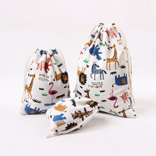 Cute Printed Drawstring Bag Zoo Animals Canvas Bag Pouch Women Travel Home Storage Tea Gift Candy Packaging Bag Small Coin Purse