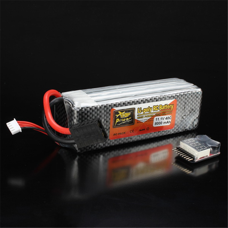 Rechargeable Lipo Battery ZOP Power 11.1V 8000mAh 3S 40C Lipo Battery For TRX Plug With Battery Alarm For Traxxas zop power 7 4v 8000mah 2s 40c lipo battery rechargeable for trx plug connector battery alarm indicator traxxas rc multicopter