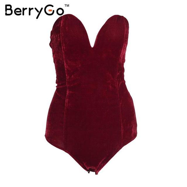 BerryGo зашнуровать бархат комбинезон ползунки женщины Торжеств и вечеринок сексуальная боди 2016 В образным вырезом без рукавов bodycon комбинезоны