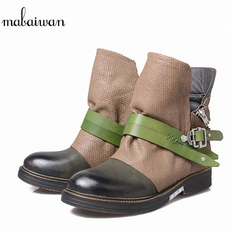 Mabaiwan Black Genuine Leather Women Shoes Flat With Snow Ankle Boots For Women Winter Military Cowboy Boots Buckle Zip Flats mabaiwan handmade rivets military cowboy boots mid calf genuine leather women motorcycle boots vintage buckle straps shoes woman