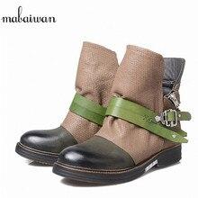 Mabaiwan черный женская обувь из натуральной кожи на плоской подошве зимние Ботильоны для Для женщин зимние Военное Дело ковбойские ботинки с пряжкой на молнии Туфли без каблуков