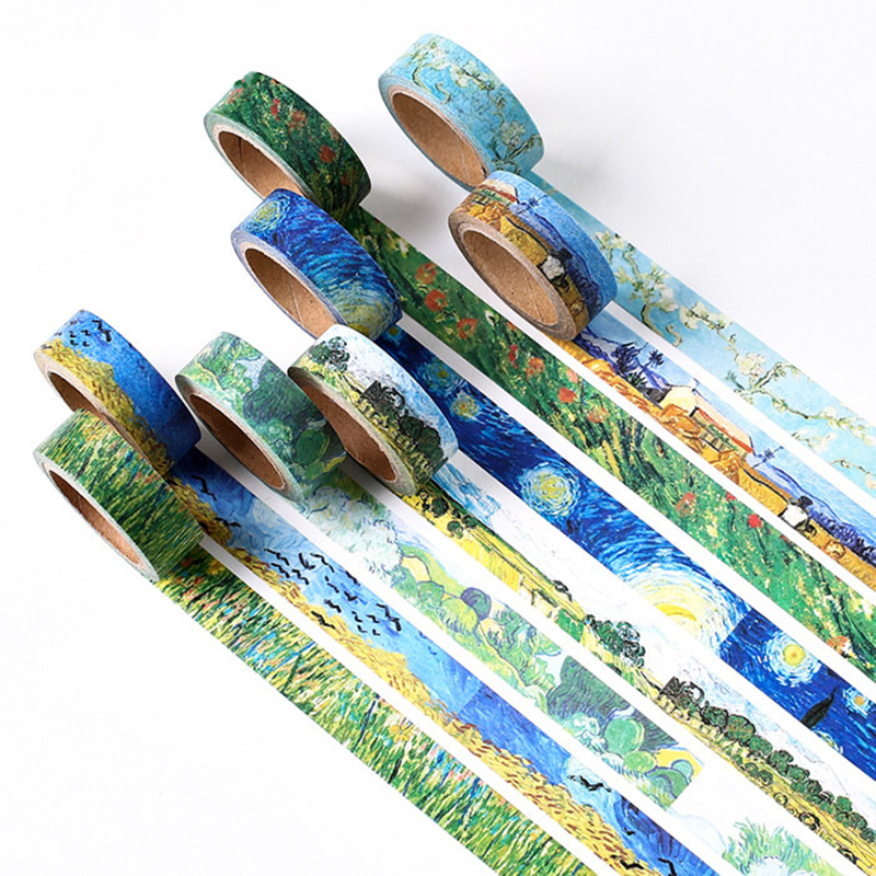 Creative Van Gogh Oil Painting Japanese Masking Washi Tape Decorative Adhesive Tape Diy Scrapbooking Sticker Label Stationery iarts aha072962 hand painted thick texture of knife painting trees oil painting red 60 x 40cm