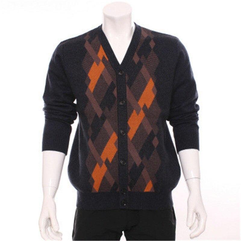 100% Cashmere Ziege Vneck Dicke Männer Mode Patchwork Farbe Argle Strickjacke Blau 2 Farbe S-xl Gute QualitäT