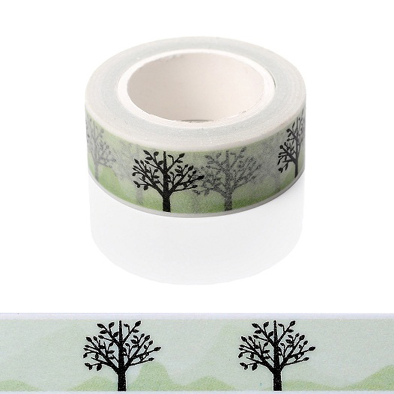 1 PC 15mmx5m Tree Pattern Gold Foil Printing Japanese Washi Decorative Adhesive Tape Diy Masking Paper Tape Label Sticker