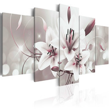 5 Pieces Canvas Painting Wall Art Delicate background beautiful lily flowers Paintings Modern Wall Pictures Framed