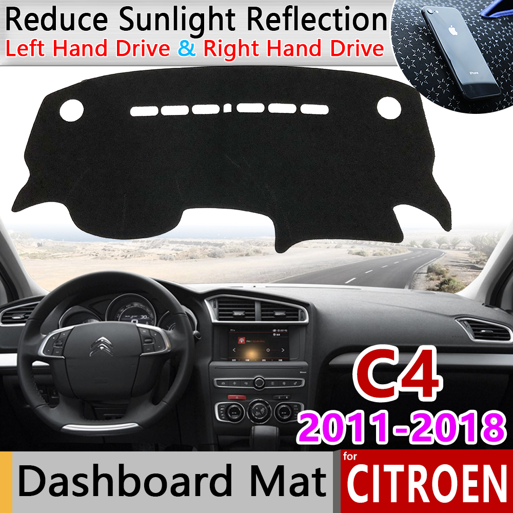 Para Citroen C4 MK2 2011 2012 2013 2014 2015 2016 2017 2018 Anti-Slip Mat Pad Cover Dashboard Pára acessórios Cupê Dashmat