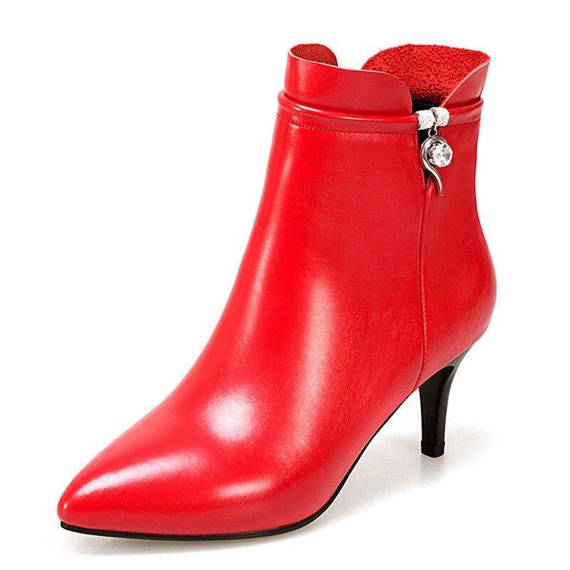Botas de tobillo básicas para mujer tacones altos zapatos de boda de fiesta de diamantes de imitación Mujer con cremallera cálido otoño invierno botas cortas-in Botas hasta el tobillo from zapatos    2