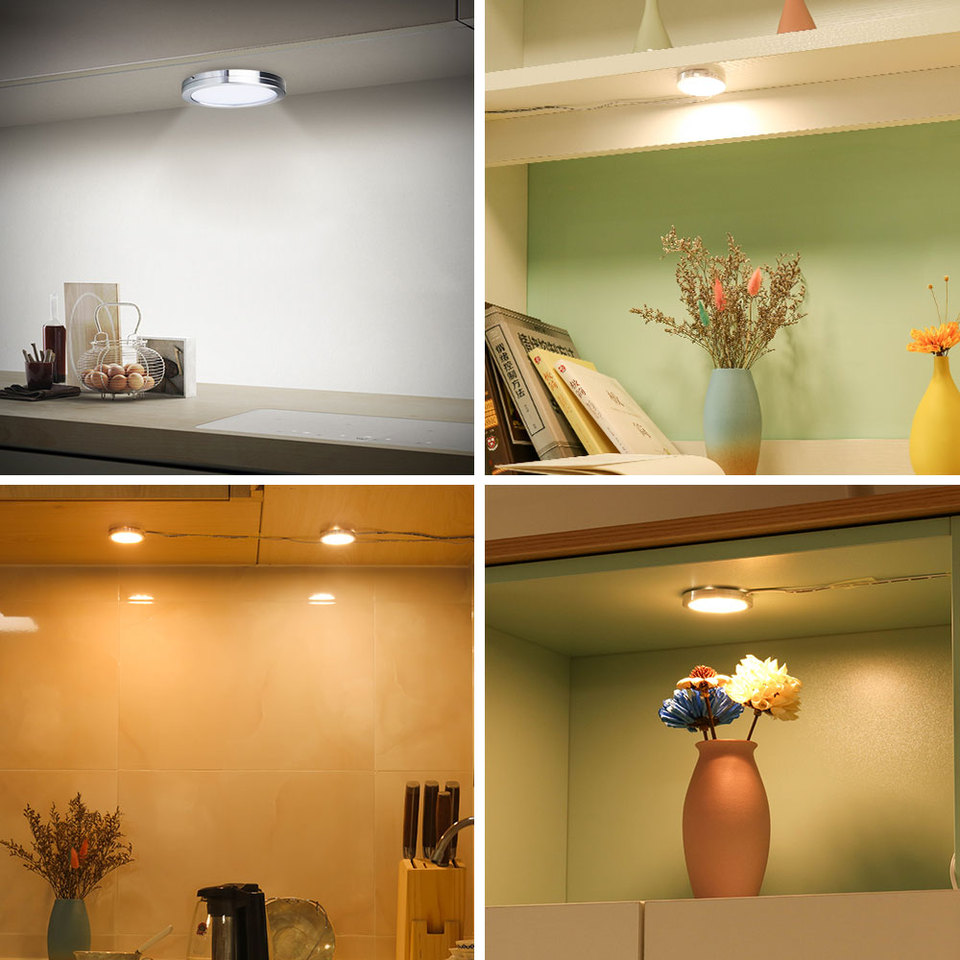 2 5w Led Under Cabinet Lights Puck Light Ultra Thin Round Decorative Home Kitchen Hanging Case Cupboard Furniture Lighting