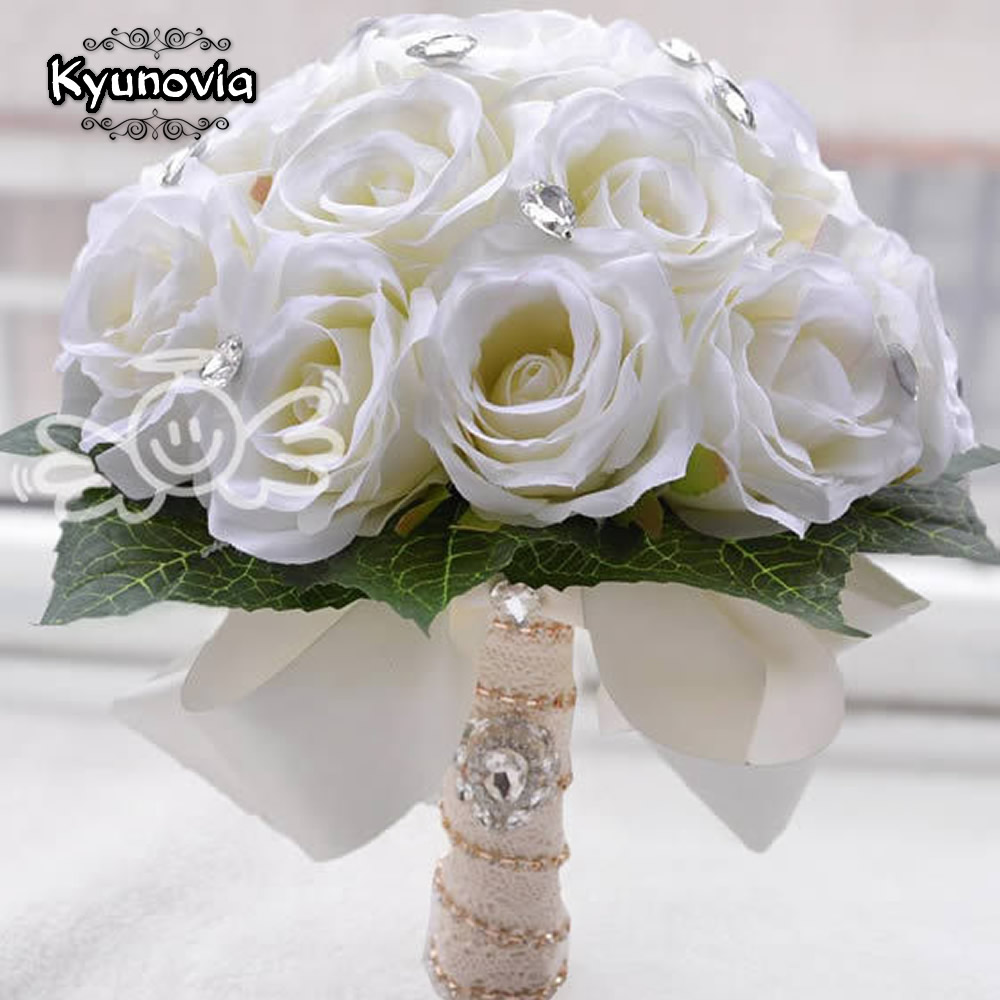 Kyunovia Artificial Ivory Rose Wedding Decoration Flower Handmade Bridal Bouquet Bridesmaid bride wedding bouquet Crystal D66
