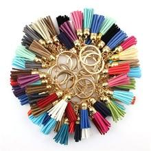 2017 New Fashion Women Casual Triple Leather Tassels Keychain