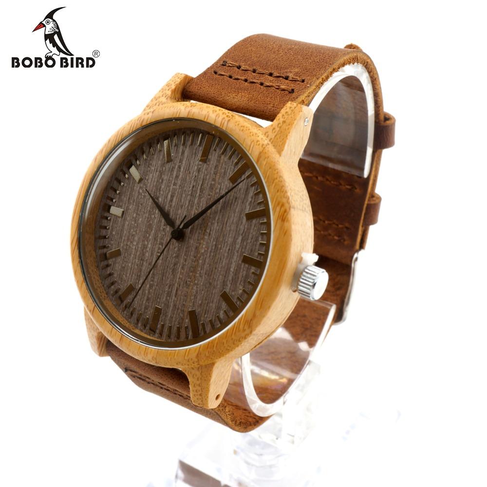 Prix pour Bobo bird femmes top marque de luxe en bois de bambou montres avec réel en cuir bandes dans une boîte cadeau relogio masculino relojes mujer