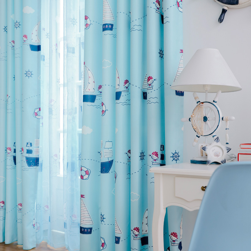 2017 New Blue Boat Children Curtains Kids Baby Room Window Curtains For  Living Room Bedroom Home