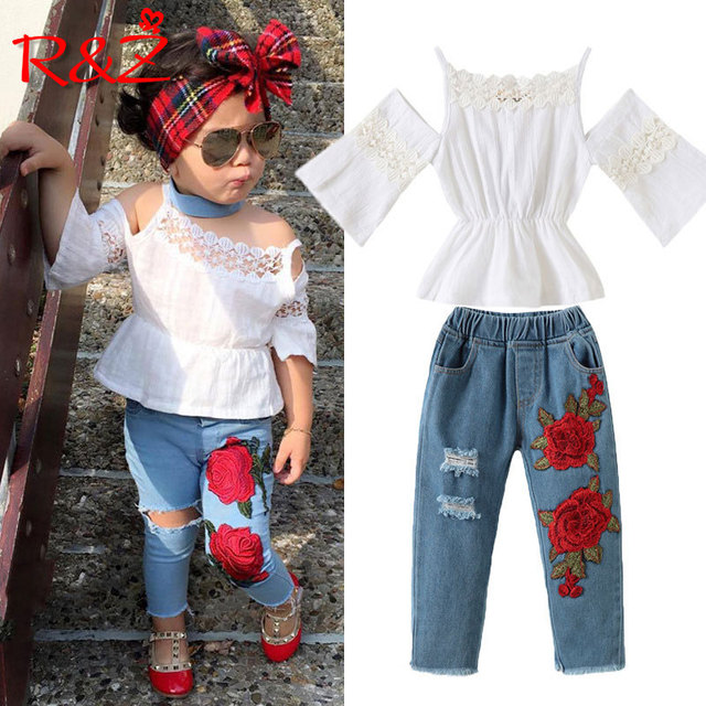 974ee0198497 R Z 2018 new girls set Europe and America rose sling lace shirt jeans  children s suit wear