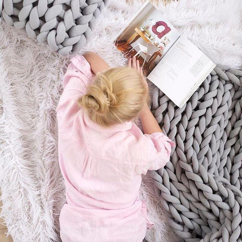 Image 3 - 127*152cm Fashion Hand Chunky Wool Knitted Blanket Thick Yarn Merino Wool Bulky Knitting Throw Blankets Chunky Knit Blanket-in Blankets from Home & Garden